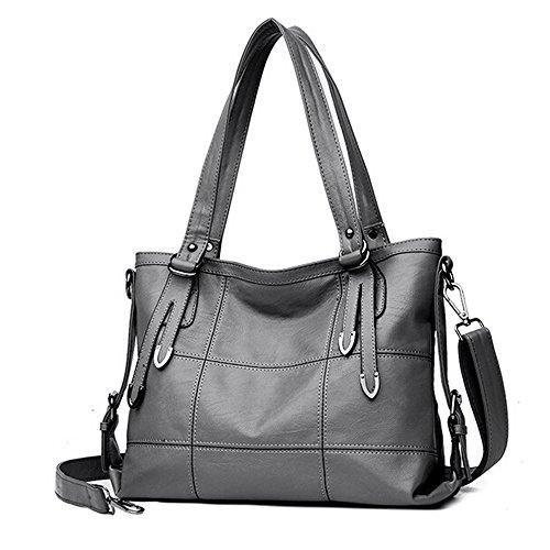 Beikoard borsa a tracolla della borsa in pelle da donna(grigio)