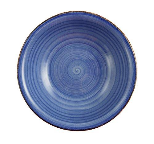Villa D'Este Baita Service, Assiettes Creuses, Bleu, 21 cm, Lot de 6