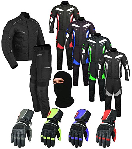 Wasserdichtes Motorrad Klage Gewebe (Jacke + Hose + Handschuhe + Balaclava) Motorradbekleidung für alle Wetter - Cordura Fabric - CE Armour - 6 Packs Entwurf - Grün / Green - Large (Big Man-anzüge)