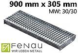 Fenau | Gitterrost-Stufe (R11) XSL – Maße: 900 x 305 mm - MW: 30 mm / 30 mm - Vollbad-Feuerverzinkt – Stahl-Treppenstufe nach DIN-Norm | Fluchttreppen geeignet/Anti-Rutsch-Wirkung