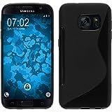 PhoneNatic Coque en Silicone pour Samsung Galaxy S7 - S-Style Noir - Cover Cubierta + Films de Protection