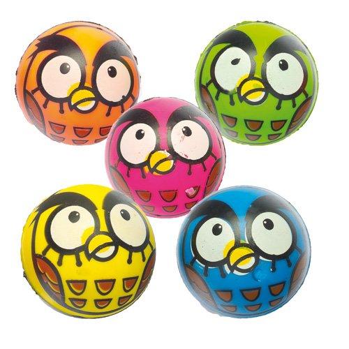 Pelotas de goma con diseño de búho. Juguetes divertidos para niños, ideales para bolsas sorpresa o como idea de regalo para fiestas infantiles (pack de 6).