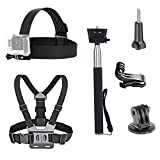 Dovob Action Camera kit accessori inclusi Head strap Mount + cinghia da petto + selfie stick palmare monopiede per GoPro/Apeman/Akaso/Panasonic/Dbpower Camkong/Wimius/Fujifilm/Icefox/Campark