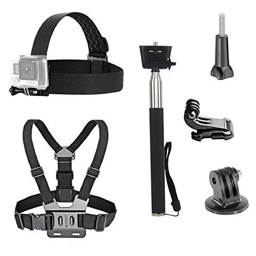 dovob Action Kamera Zubehör-Kit inklusive Head Strap Mount + Brustgurt Gurt Harness Halterung + Selfie Stick Einbeinstativ für GoPro/Apeman/Akaso/Panasonic/DBPOWER/camkong/wimius/Fujifilm/kann/campark