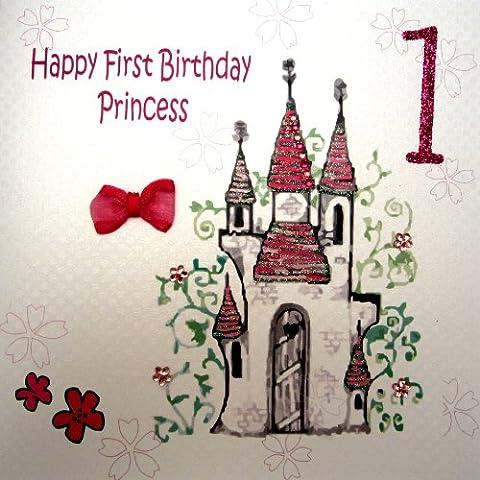 white cotton cards 1-Piece Happy First Birthday Princess Handmade Card, Princess Castle