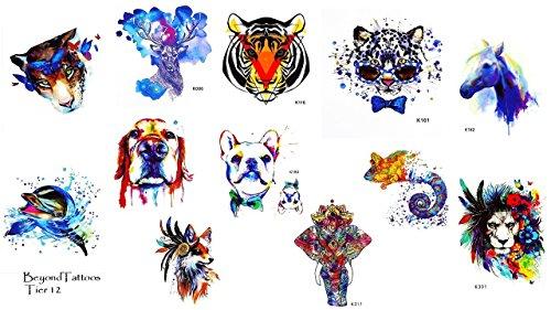 12pequeñas hojas Tatuajes de animales elefante perro león Tiger ciervo Tatuajes para...