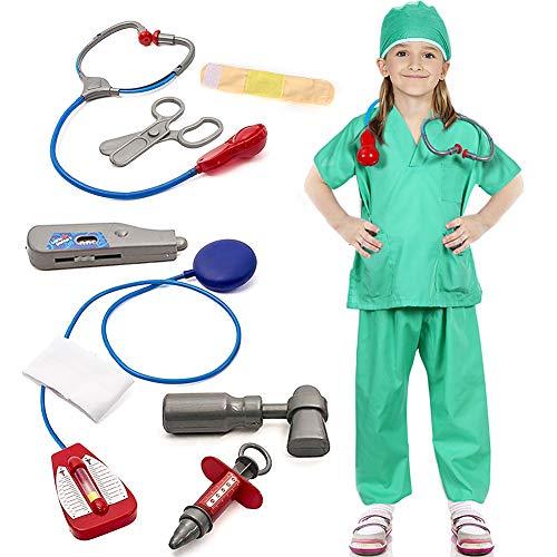 Bascolor Arzt Kostüm Kinder Chirurg Zubehör Arztkittel Kinderkostüm Rollenspiel für Cosplay Weihnachten ()