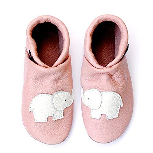 pantau.eu Leder Krabbelschuhe Lederpuschen Babyschuhe Lauflernschuhe mit Elefant ROSA_WEISS