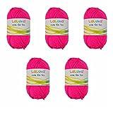 5er Pack Uni Wolle neon pink 100% Polyacryl Wolle 250g, Garn zum Stricken & Häkeln, Marke: LaLuna®