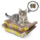 LotFancy 2PCS Rascadors para Gatos con Catnip para Cama y Sofá Aalmohadillas Rascadores para Gatos de Carton Reciclado Corrugado (20.5cm x 43cm)