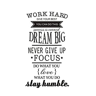 anber Inspirational Lettering Wall Decals Removable Vinyl Quotes Work Hard Never Give Up Stay Humble Wall Sticker Kids Room Living Room Bedroom Classroom Office