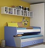 Bett ausziehbar mit Hochbett und Schreibtisch ausziehbar Typ Round–2herausnehmbare Schubladen–cm h204.2l89.8P106