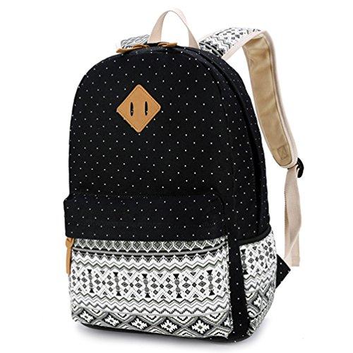 YoungSoul Mädchen Schulrucksack Teenage Rucksack Canvas Laptop Rucksäck für Universität + Umhängetasche + Segeltuch Mäppchen Schwarz(nur Rucksack)