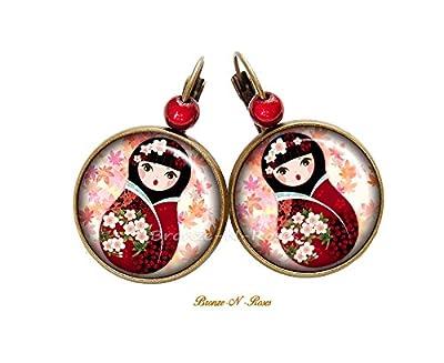 Boucles d'oreilles Poupée Kawaii fleurs roses cabochon bronze Matriochka verre dormeuses