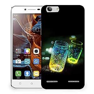 Snoogg Fluorescence Glitter Glass Bottle In Bokeh Dark Designer Protective Phone Back Case Cover For Lenovo K5 Vibe