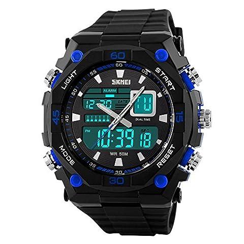 étanche décontracté à quartz à affichage LED Digital analogique Bracelet en caoutchouc Noir montre