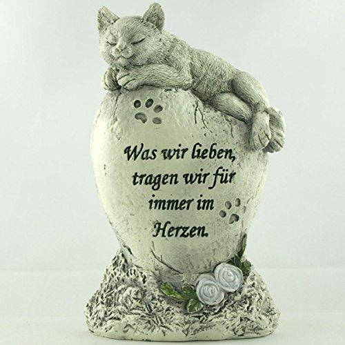 Katzen Deko Gedenkstein, Tiergrabstein Was wir lieben, tragen wir für immer im Herzen
