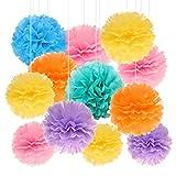 Kreatwow Regenbogen Seidenpapier Pom Set für Geburtstagsfeier Baby Shower Hochzeit 12 Pack rosa blau Tiffany hellgelb hell lila Orange Pom Poms Garland Kits