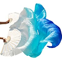 YI NA SHENG WU Abanicos de danza del vientre de seda natural 1 x izquierda + derecha Blanco + turquesa + azul real (180X90 cm)