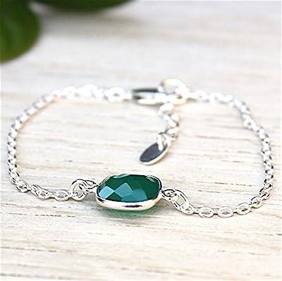 bracelet pierre de gemmes agate verte sur chaine argent massif