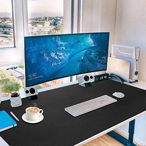 """Protector de almohadilla de escritorio de cuero grande, estera de escritura de Toneseas, secante de mesa, alfombrilla de ratón, tecnología NANO para juegos, oficina, 36 \""""x 20\"""", negro medianoche"""