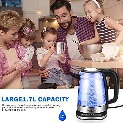 Wasserkocher-Glas-mit-Temperatureinstellung-PREUP-Wasserkocher-Warmhaltefunktion-mit-blauer-LED-Beleuchtung-Kessel-mit-Automatischer-Abschaltung-17-Liter-2200-Watt-Schwarz