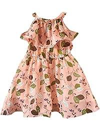 b51c53ad446c LUBITY Robe Enfant en Bas âge BéBé Filles Volants sans Manches Robe  Imprimée Feuille Robes de Gilet Robe Fille Partie Enfants Robe…