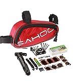 KNOSSOS Set di Attrezzi per Riparazione Multifunzionale per Bicicletta Portatile Kit di Mini Sacchi per Pompa Rossa
