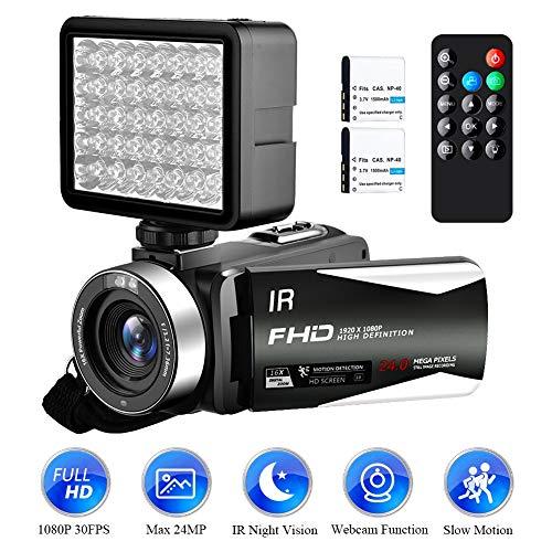 Videokamera Camcorder Full HD 1080P 30FPS 24.0MP Digitale Videokamera IR Nachtsicht YouTube Camcorder 16 facher Digitalzoom 3,0 Zoll IPS Bildschirm mit 270 ° Drehung und Fülllicht für Nachtsicht