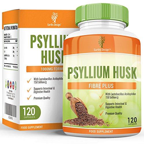 Flohsamenschalen - 500mg Flohsamenschalen Nahrungsergänzungsmittel - Psyllium Husk - 60 Kapseln (3 Monate Vorrat) von Earths Design