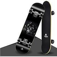 Leafik Skateboard complet pour débutants, 78,7 x 20,3 cm pour enfants, adolescents, filles, garçons, adultes, 9 couches d'érable, double kick concave