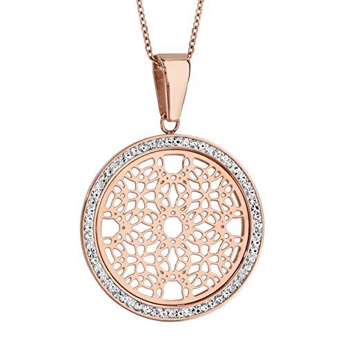 Halskette Verstellbare Länge: 45 bis 50 cm Rosa Runde Anhänger Muster Rosette Kontur Harz Straß Weiß Edelstahl -