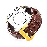 Für Apple Watch Armband 42mm, Bandmax Braunes Echtes Lederarmband mit vergoldeter Edelstahl...