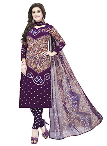 Ishin Synthetic Purple Printed Women's Unstitched Salwar Suits dress material with Dupatta