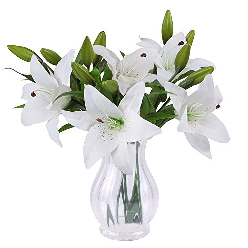 Artificial flowers with vase amazon sunnior 1 bunch 3 head white lily perfume artificial flower bouquet wedding graves vaseswhite 5pcs mightylinksfo