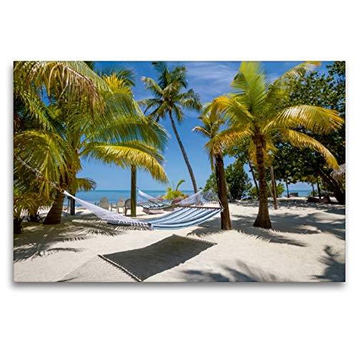Calvendo Premium Textil-Leinwand 120 cm x 80 cm quer, Florida Keys Himmlischer Ort   Wandbild, Bild auf Keilrahmen, Fertigbild auf echter Leinwand, Leinwanddruck: Paradiesische Idylle Orte Orte
