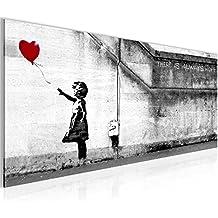 Kunstdruck Bilder 100 x 40 cm - Balloon Girl by Banksy Bild - Vlies Leinwand -Wandbild - XXL Format - mehrere Farben und Größen im Shop - Fertig Aufgespannt !!! 100% MADE IN GERMANY !!! - 301612a