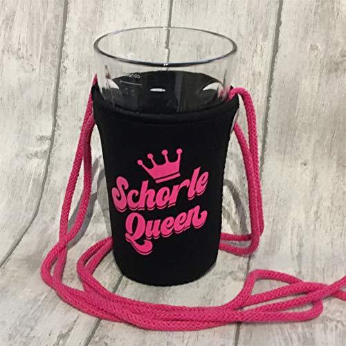 Schorle Queen Dubbeglashalter (Schwarz/Schrift pink)