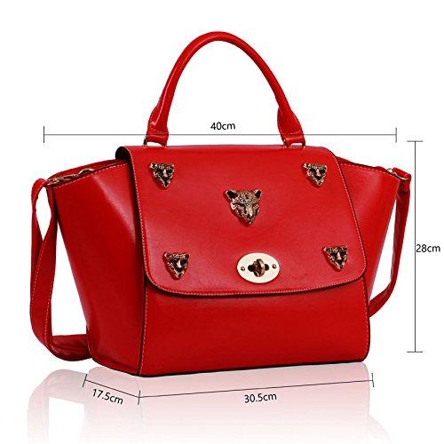 TrendStar Womens Ledertaschen Damenmode, Designer Handtaschen Schulter-New Klappe Über Promi-Schultaschetote Rot