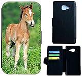 Hülle Flipcover Schutzhülle Cover Etui Wico Case für (Samsung Galaxy S4 Mini, 1531 Fohlen Pferd Tier Braun)