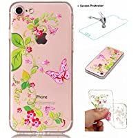 Funda iPhone 7 Carcasa + Protector Pantalla MISSDU Silicona Transparente Protector TPU Funda Ultra Fina Slim Híbrida Gel Antichoque Case Proteccion, Mariposa de la Flor