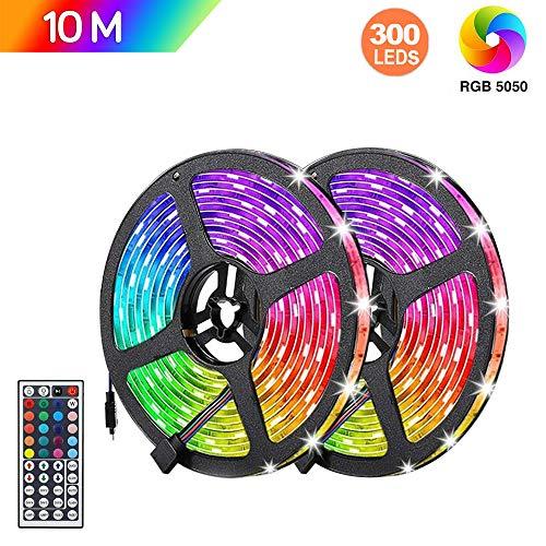 Tiras LED RGB 10m, AUELEK 2x5m Tiras LED 12V 300 LEDs 5050 Tira LED con Impermeable IP65/ DIY Color Modos/Cortable/Control Remoto de 44 Botones para Techo, Jardín, Casa, Bar, Fiesta, Navidad, Bodas