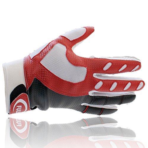 Full Force American Football GeckoTECK Handschuhe, weiß-rot-schwarz M