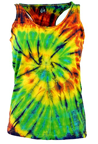 Guru-Shop Batik-Tanktop, Tie Dye Goa Top, Damen, Grün, Baumwolle, Size:L (38), Tops, T-Shirts, Shirts Alternative Bekleidung -