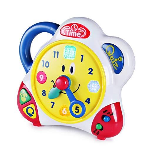 SainSmart Jr. Happkid Lernuhr Spielzeug Pädagogische Lehruhr mit interaktiver Musik und Quizmodus für Kleinkinder, Zeitlernspielzeug für Kinder