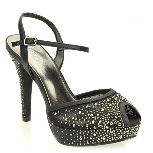 Femmes Dames Soir Mariage Party Haute Talon Stiletto Diamante Peep Toe De Mariée à Semelles Compensées Sandale Chaussures Taille (Or, Argent, Noir) Noir