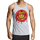 lepni.me Camisetas de Tirantes para Hombre Happy Halloween! - Party Clothes - Pumpkins, Owls, Bats (Large Blanco