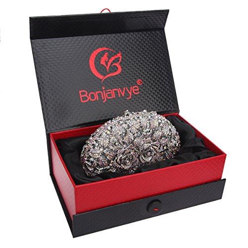 Bonjanvye Glitter Studded Rhinestone Rose Clutch Purse for Wedding Party Gold AB Silver