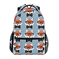 Hunihuni Cute Fox Pattern Durable Backpack College School Book Shoulder Bag Daypack for Boys Girls Man Woman
