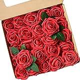 ACDE Fleurs Artificielles, Roses Artificielle 25PCS Mousse Rose Faux Regard Réel avec Feuille et Tige Ajustable pour DIY Mariage Bouquets Mariée Fête Accueil Décorations (Rouge)